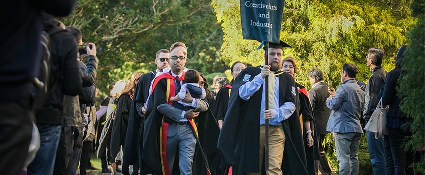 Autumn graduation procession
