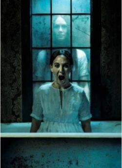 Promotional image for Horror, featuring a young lady screaming with a ghost-like figure behind her.
