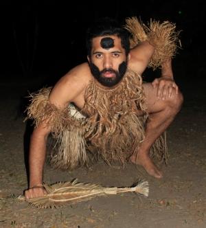 Vivian Aue posing in traditional Fijian costume.