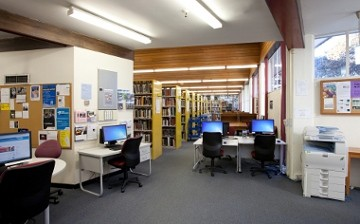 Interior shot of the Elam library.