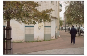 image of a man walking down the street, part of Andrew's exhibition