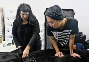 Artist Kathy Temin assisted by Elam student Joseph Durana with the work for her upcoming exhibition.