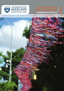 Image of the front cover the prospectus featuring an art installation.