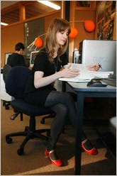 Rosemary Martin studying at a desk.