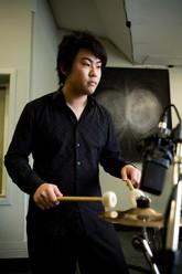 Tsubasa Kawamoto in the music recording studio.