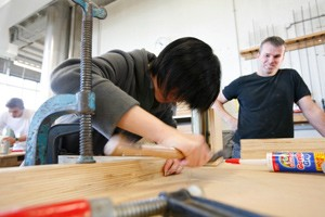 Students working in the architecture workshops.
